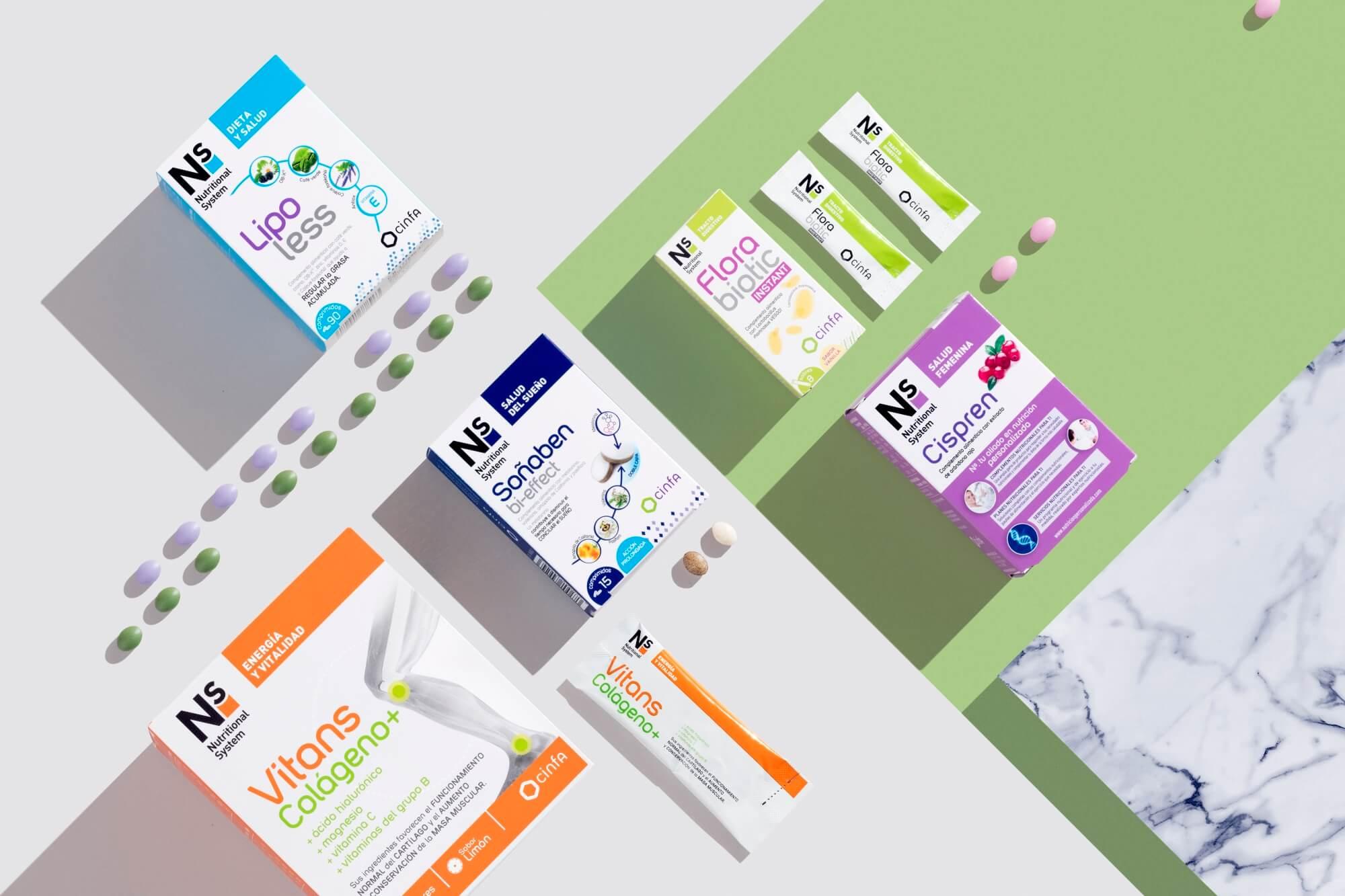 Nutrición Ns de Cinfa: Vitans Colágeno +, Lipoless, Flora biotic…