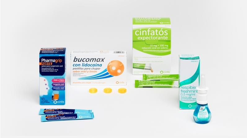 Medicamentos sin receta para la gripe y el resfriado de Cinfa: Pharmagrip, cinfatos, respibien, bucomax