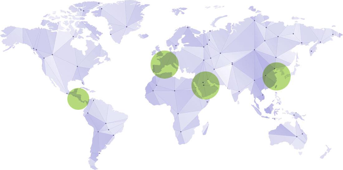 Mapamundi que muestra las áreas en los que Grupo CINFA vende sus productos